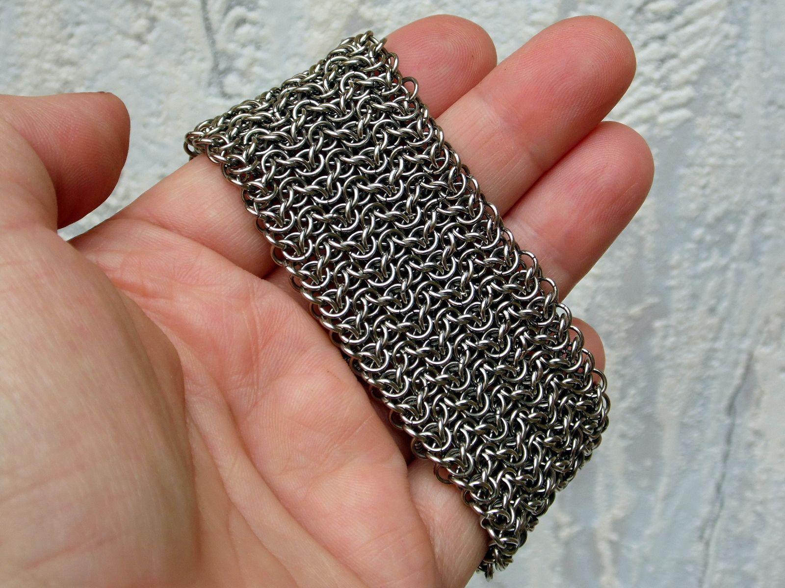 Szeroka stalowa bransoletka chainmaille