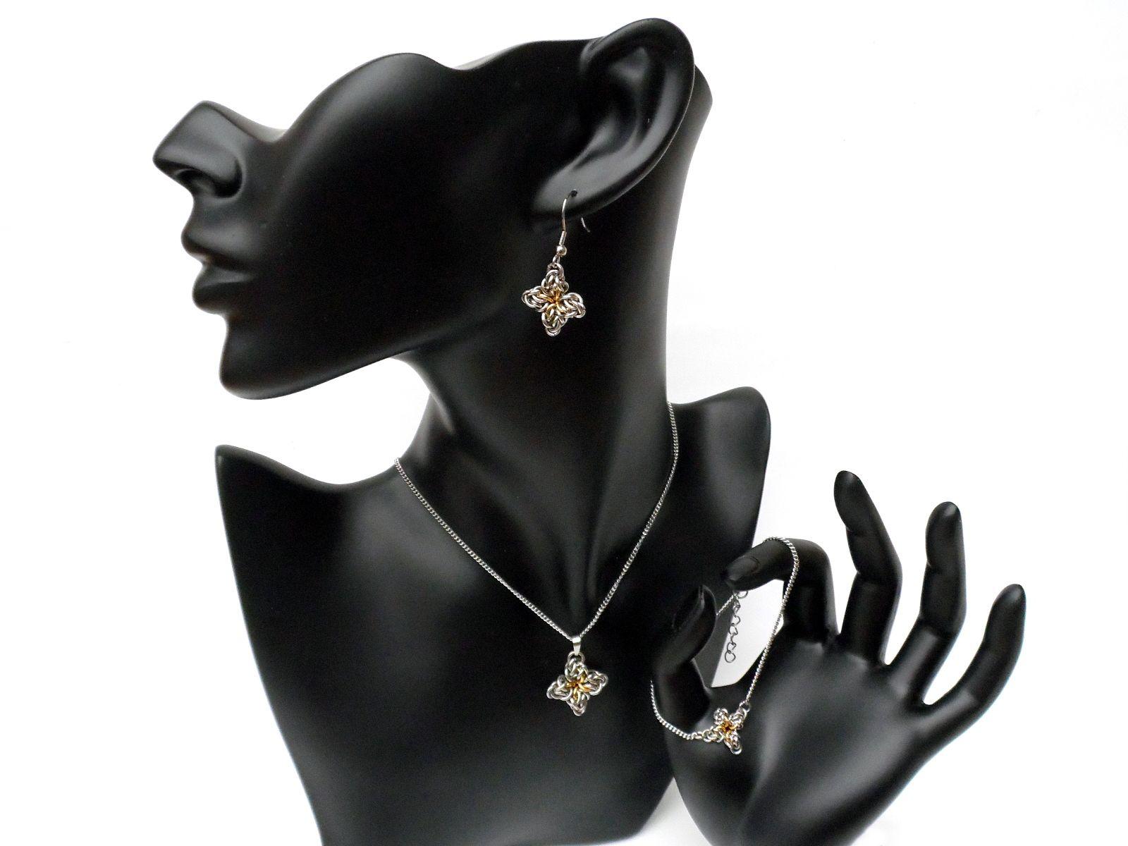 Komplet biżuterii chainmaille ze stali chirurgicznej