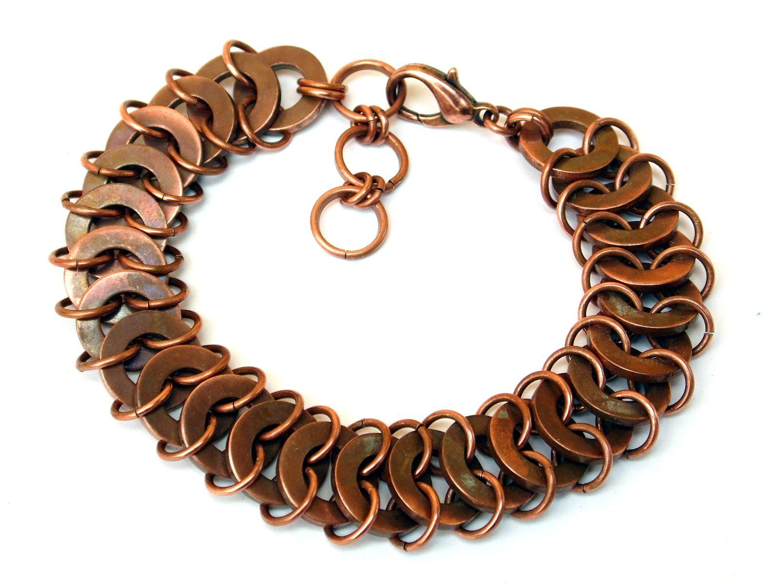 Miedziana bransoletka chainmaille z podkładek