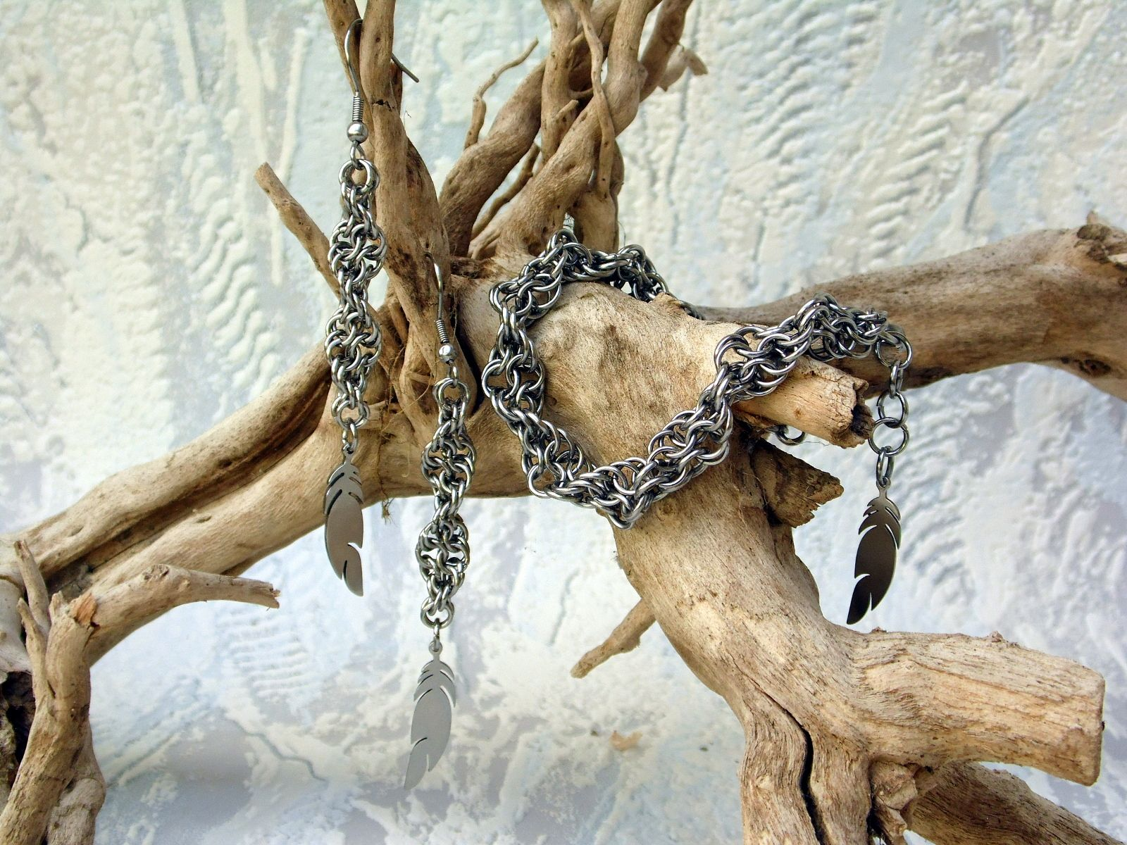 Spiralny komplet stalowej biżuterii chainmaille