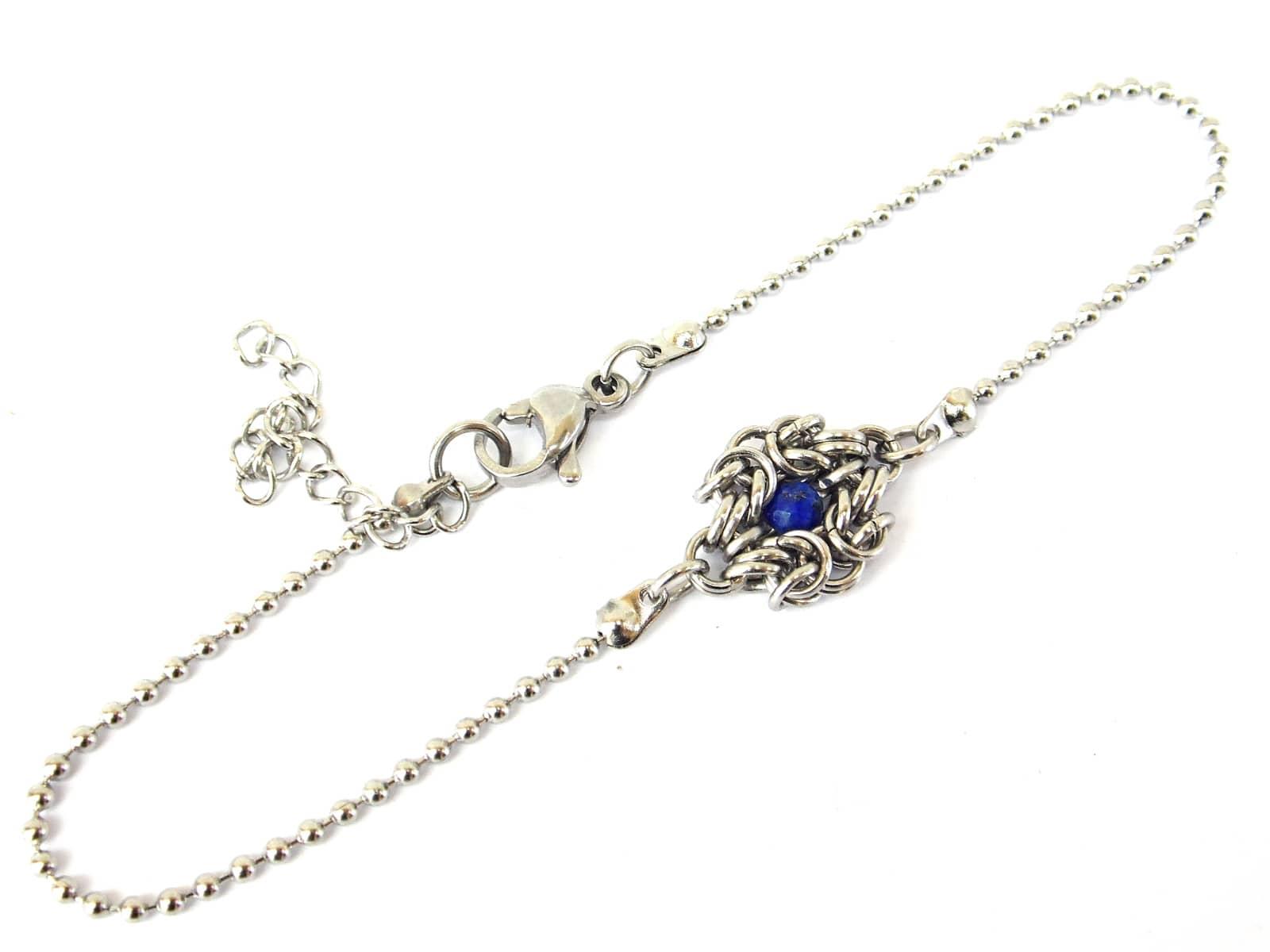 Bransoletka chainmaille celebrytka ze stali z lapis lazuli