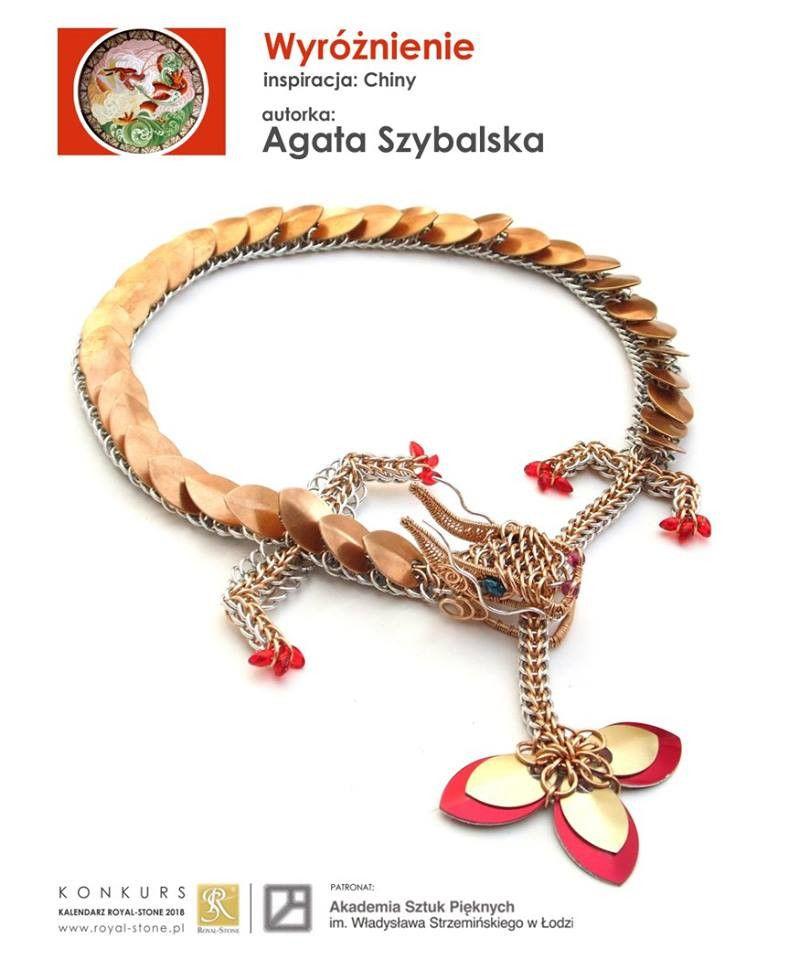Naszyjnik chainmaille z brązu i aluminium przedstawiający chińskiego smoka