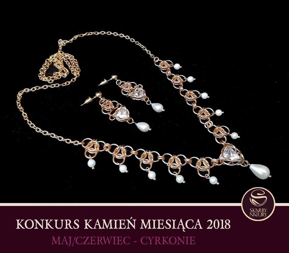 Komplet chainmaille (kolia i kolczyki) z brązu z cyrkoniami i perłami