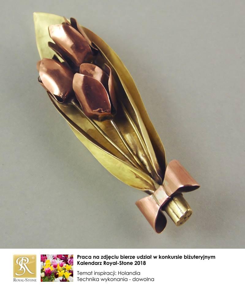 Broszka z tulipanami z miedzi i brązu