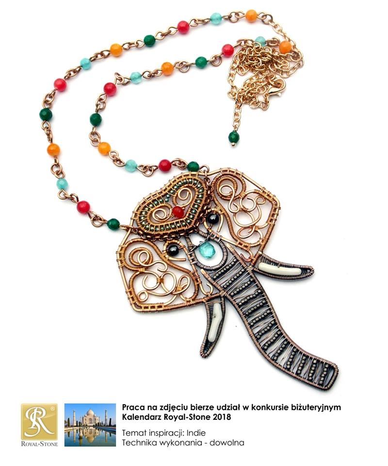 Naszyjnik wire wrapping z brązu z kolorowymi minerałami przedstawiający głowę słonia indyjskiego