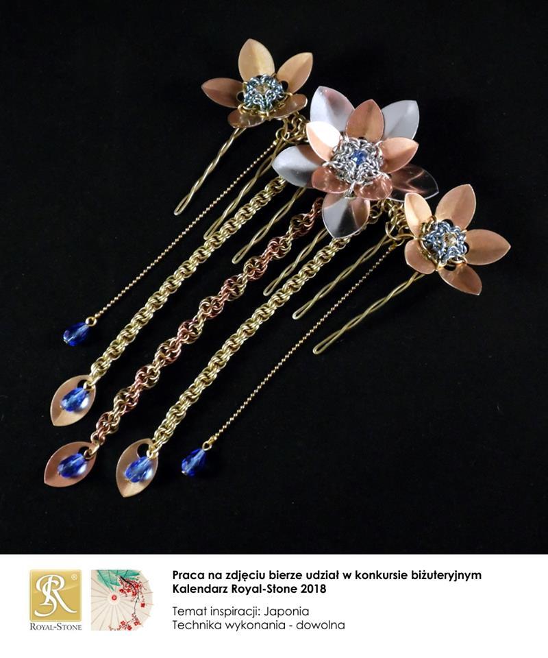 Fascynator (ozdoba do włosów) z różnych metali inspirowana japońską sztuką kanzashi