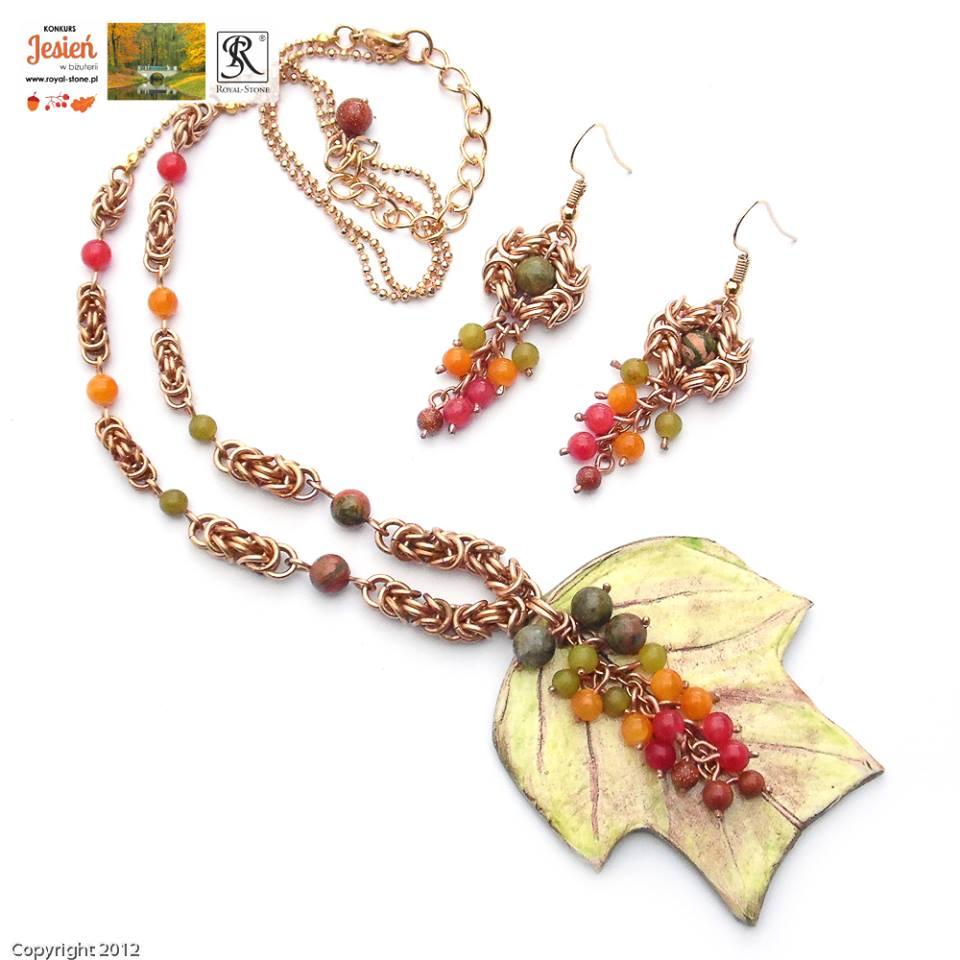Komplet chainmaille z brązu z ceramicznym liściem i minerałami w kolorach jesieni