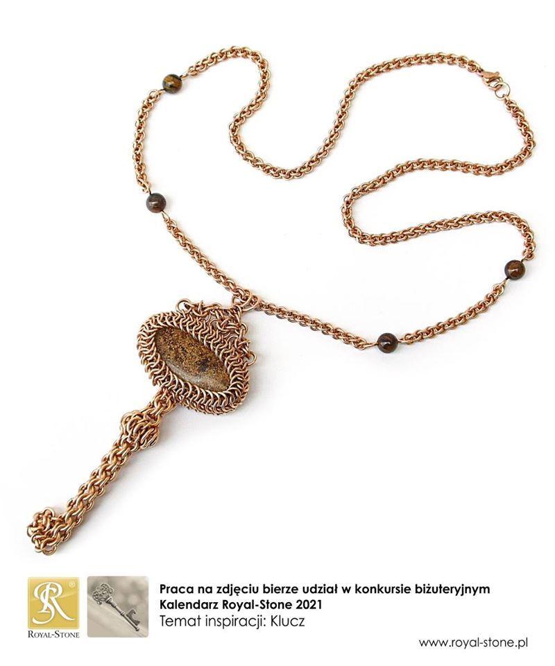 Naszyjnik chainmaille klucz z brązu