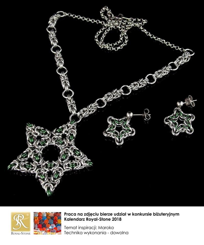 Naszyjnik i kolczyki chainmaille z aluminium -marokańskie pentagramy