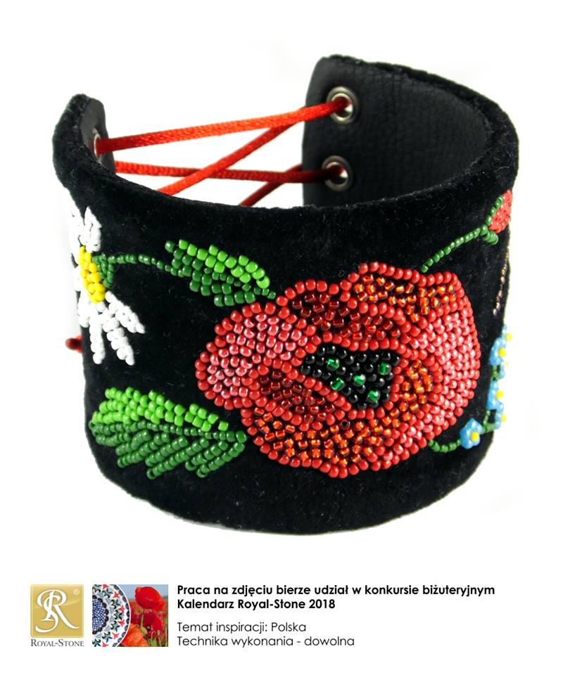 szeroka bransoletka haftowana koralikami w kwiaty z krakowskich gorsetów