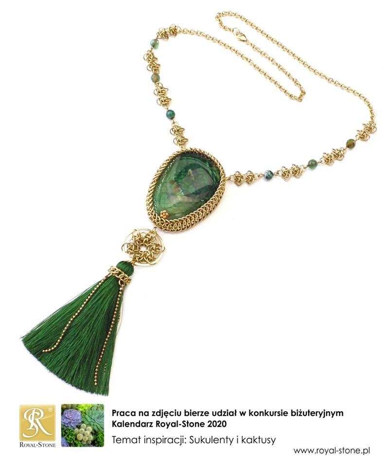 Naszyjnik chainmaille z mosiądzu z zielonym chwostem i agatem smoczym
