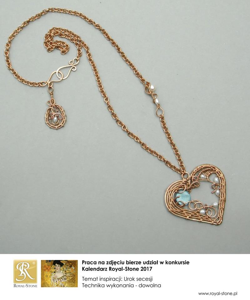 Naszyjnik wire wrapping secesyjne serce z brązu
