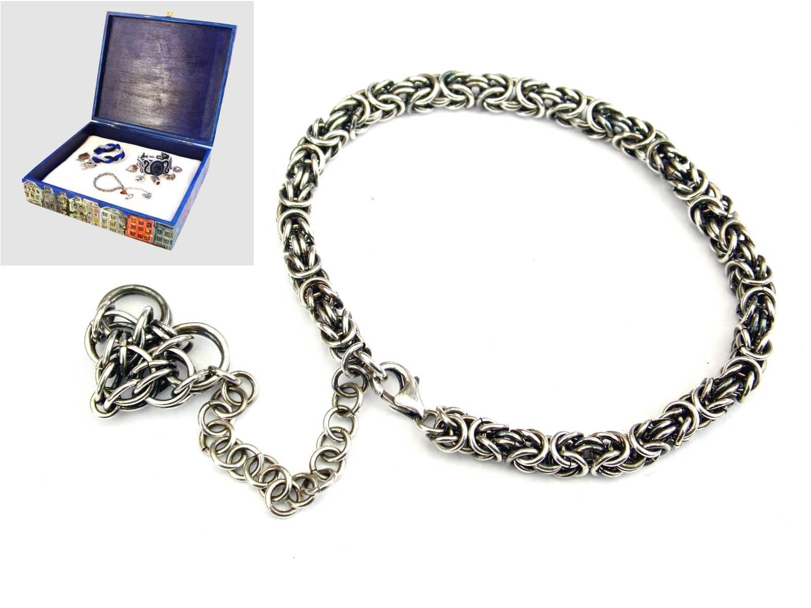 Srebrna bransoletka chainmaille z serduszkiem