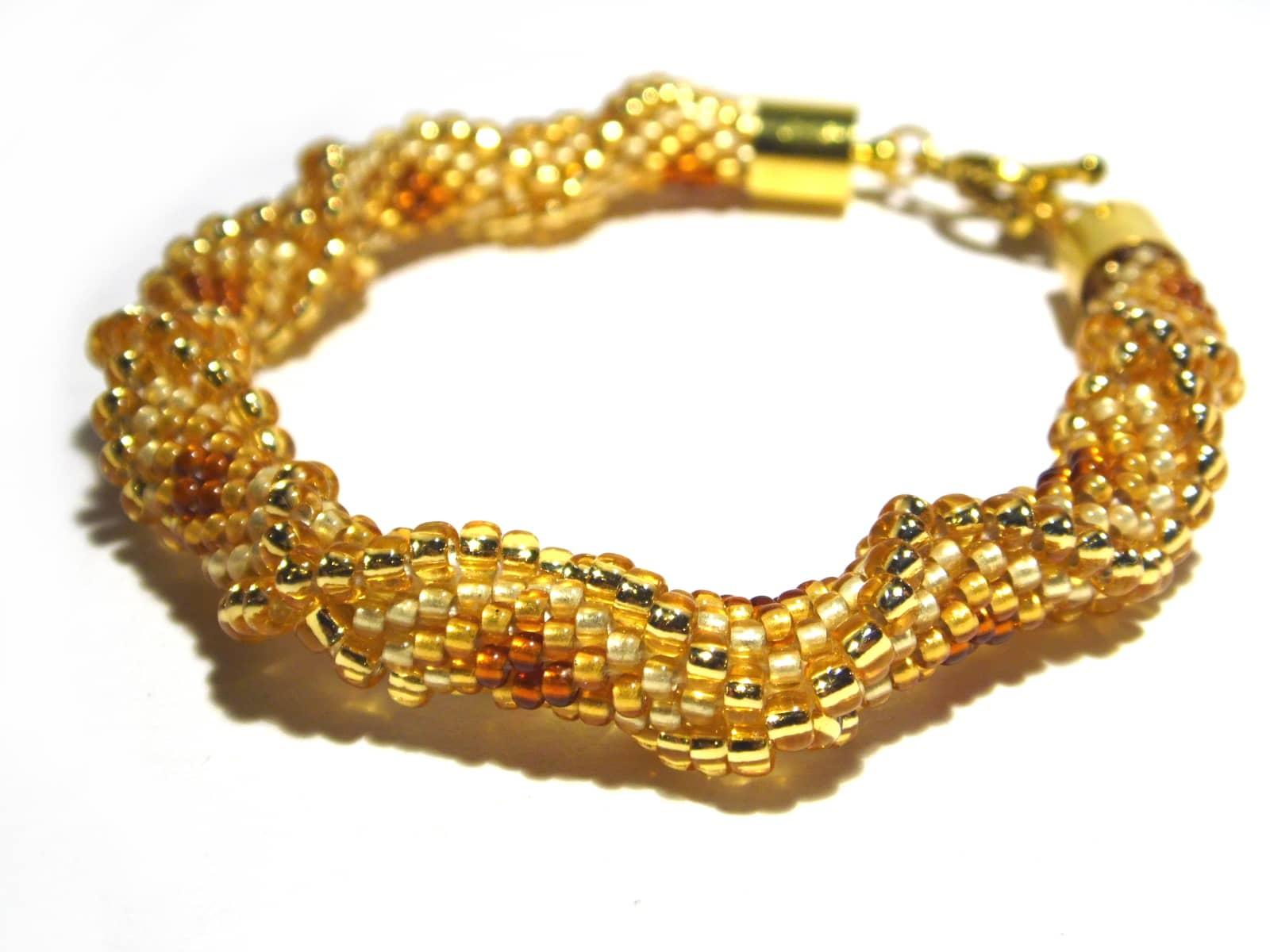 Żółta bransoletka bead-crochet z efektem 3D