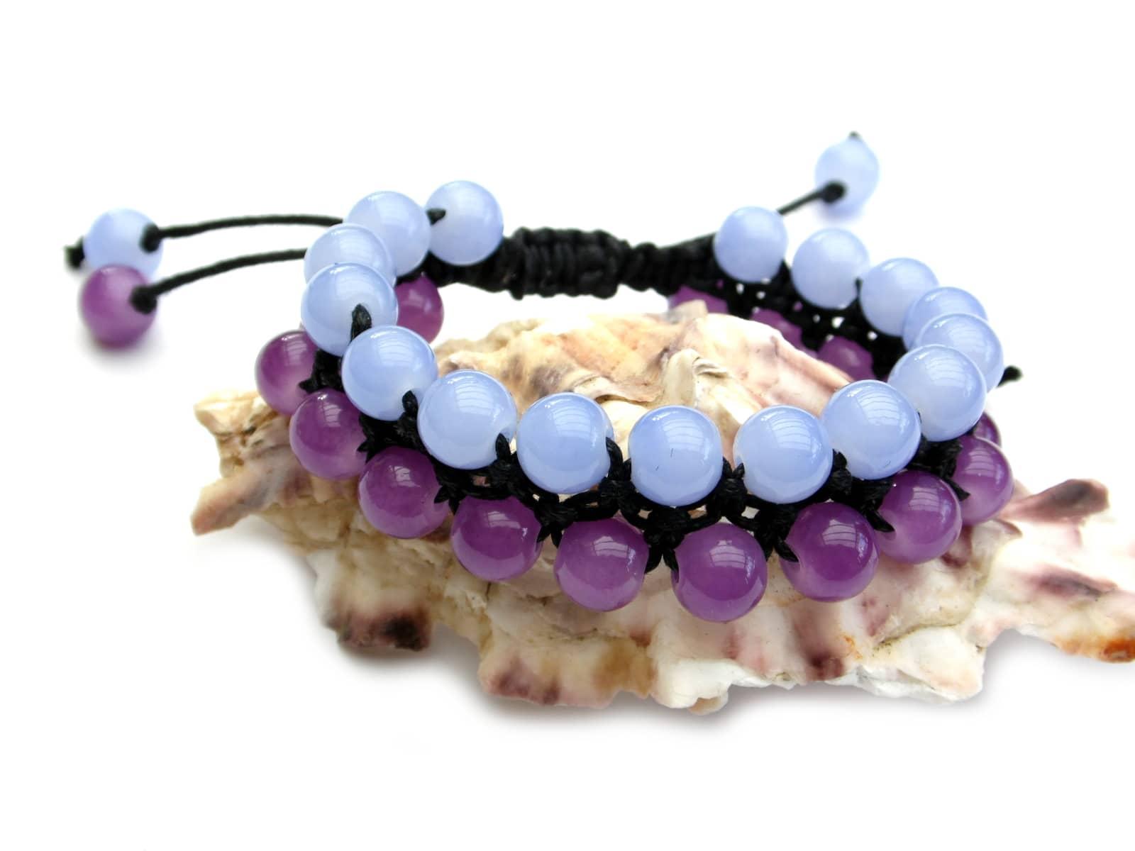 Bransoletka makramowa dwurzędowa z kwarcu w kolorach błękitnym i fioletowym
