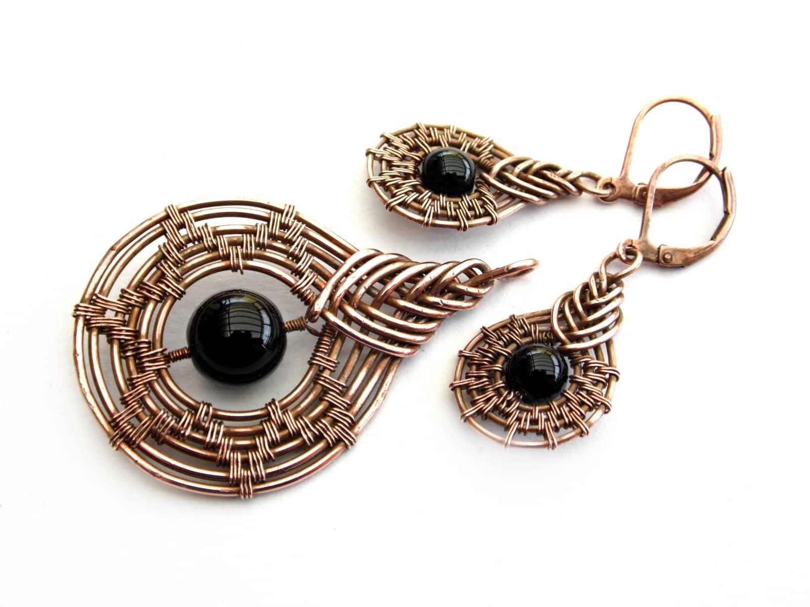 Komplet wire wrapping z miedzi z black stone