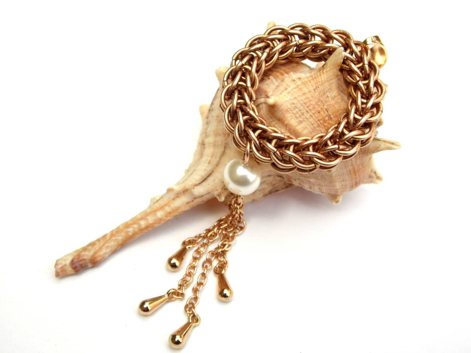 Naszyjnik chainmaille oponka z brązu z perłą