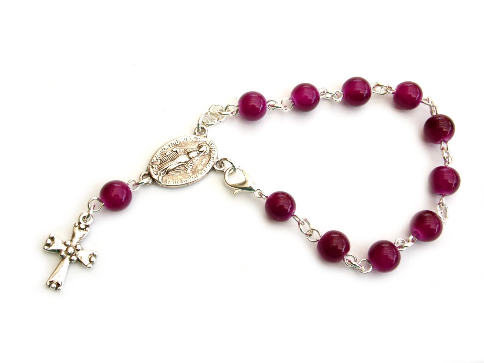 Dziesiątka różańca w formie bransoletki - z wiśniowego kwarcu