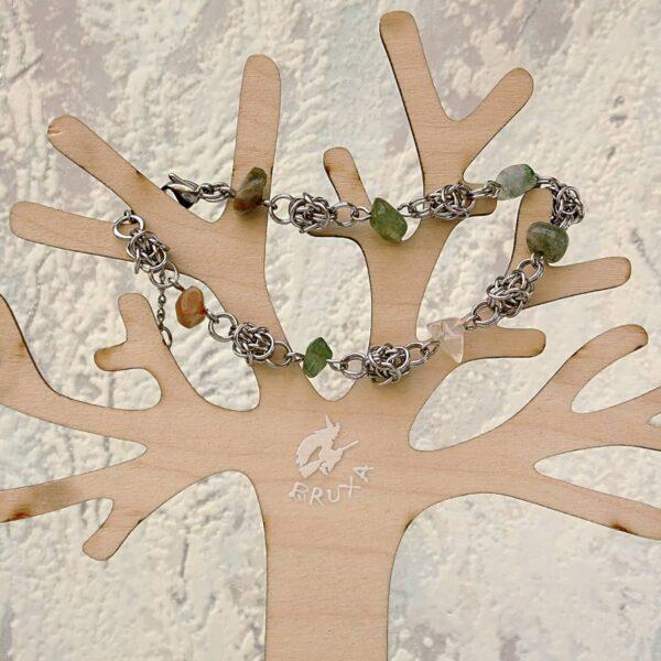 bransoletka chainmaille z kolekcji Sauvage z agatem mszystym