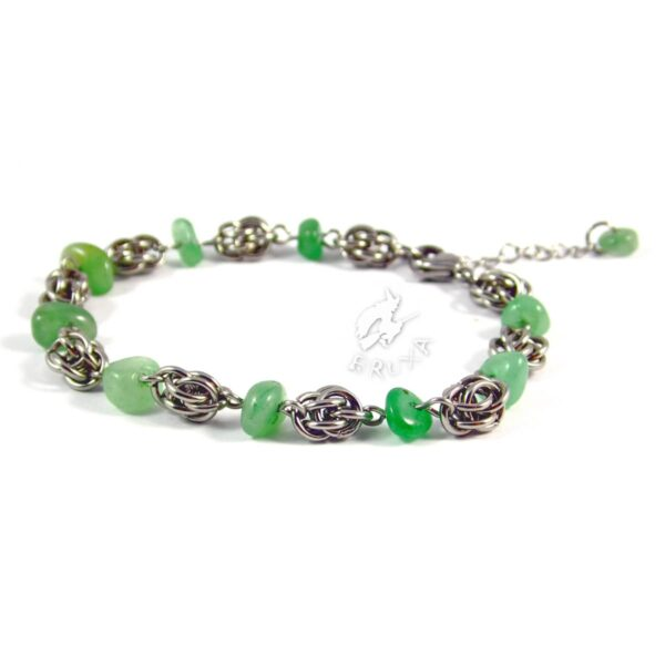 bransoletka chainmaille z kolekcji Sauvage z zielonym awenturynem
