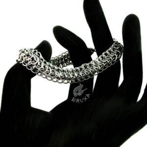 szeroka bransoletka chainmaille ze stali chirurgicznej wykonana splotem Dragonback