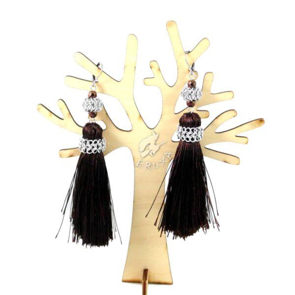 Długie kolczyki chainmaille z chwostem brązowe