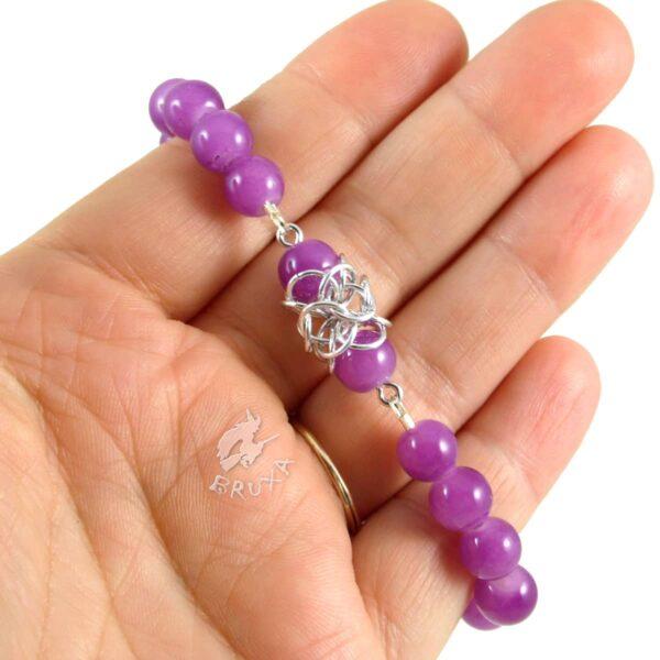 Bransoletka na gumce Lukrecja z fioletowych kwarców