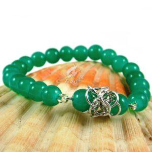 Bransoletka na gumce Lukrecja z morsko-zielonych kwarców