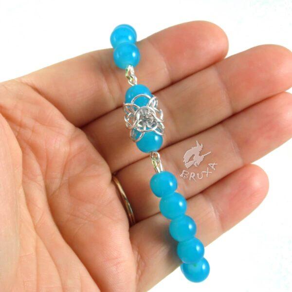 Bransoletka na gumce Lukrecja z niebieskich kwarców