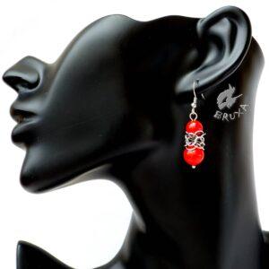 Kolczyki chainmaille Lukrecja z ciemno czerwonym marmurem