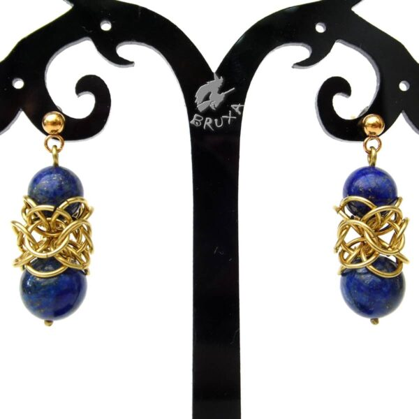 Kolczyki chainmaille Lukrecja z lapis lazuli