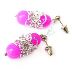 Kolczyki chainmaille Lukrecja z różowymi minerałami