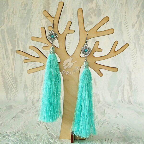 Kolczyki chainmaille z kolekcji Glamour, z turkusowym chwostem