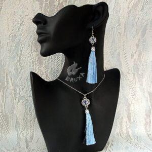 Komplet chainmaille z kolekcji Glamour, z niebieskimi chwostami