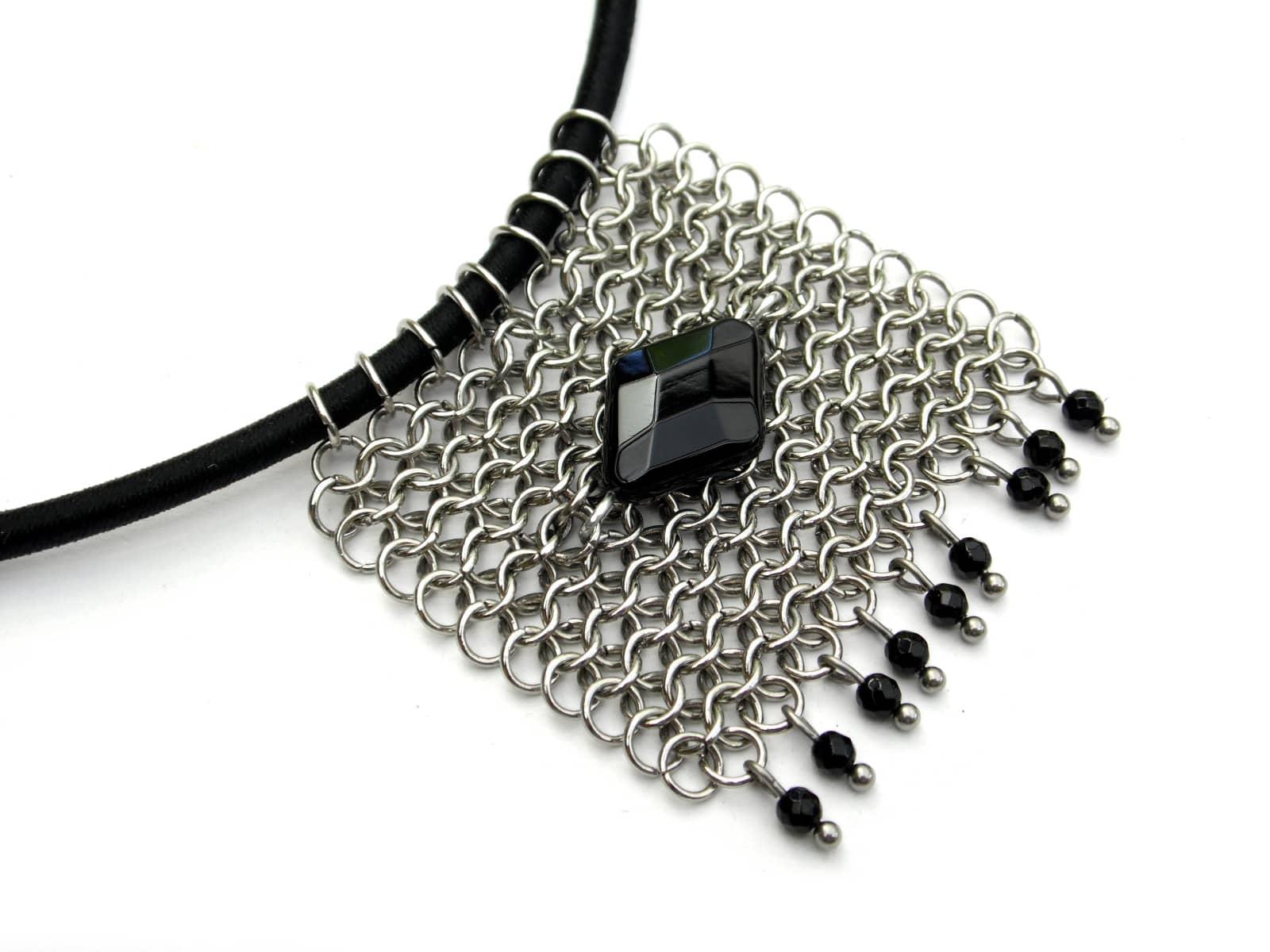 Naszyjnik chainmaille z onyksem