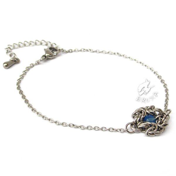 Elegancka bransoletka celebrytka ze stali chirurgicznej z błękitnym agatem