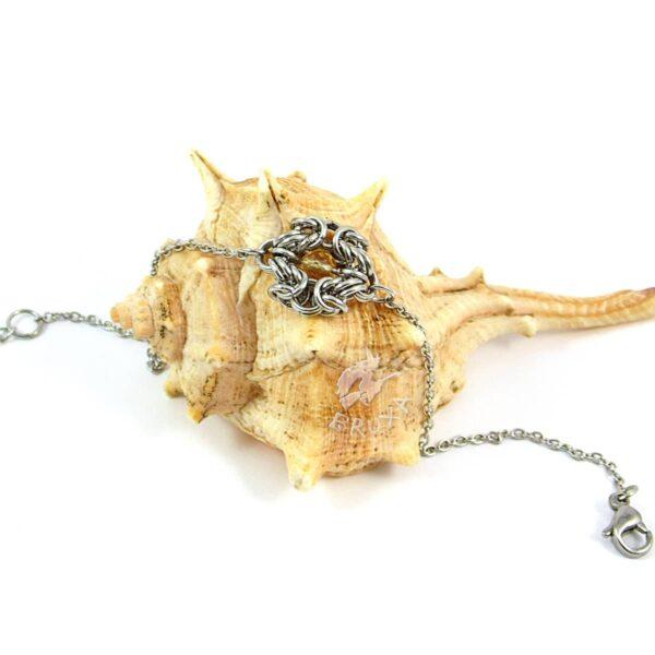 Elegancka bransoletka celebrytka ze stali chirurgicznej z cytrynem