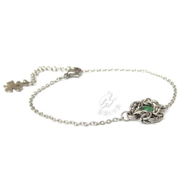 Elegancka bransoletka celebrytkaze stali chirurgicznej z zielonym jadeitem