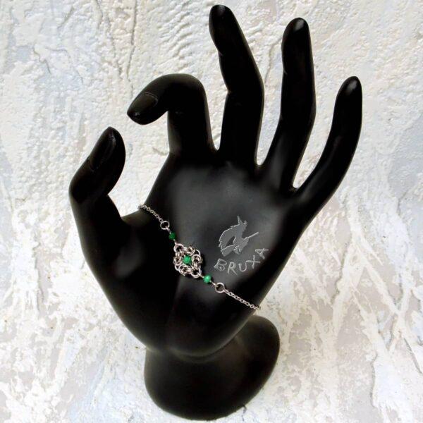 Elegancka bransoletka celebrytkaze stali chirurgicznej z malachitem