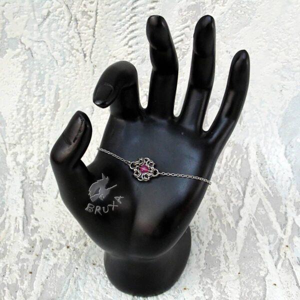 Elegancka bransoletka celebrytkaze stali chirurgicznej z truskawkowym kryształem górskim
