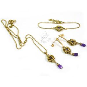 Elegancki komplet biżuterii z mosiądzu z ametystami