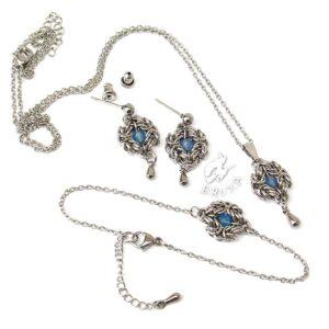 Elegancki komplet ze stali chirurgicznej z błękitnymi agatami i stalowymi kropelkami
