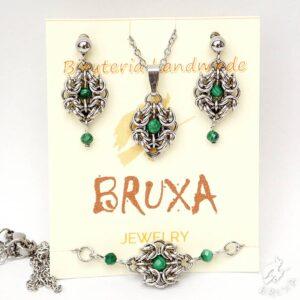 Elegancki komplet biżuterii ze stali chirurgicznej z malachitami