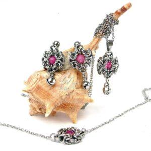 Elegancki komplet biżuterii ze stali chirurgicznej z truskawkowym kryształem górskim