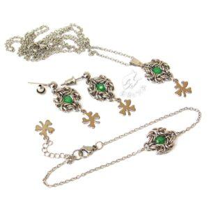 Elegancki komplet biżuterii ze stali chirurgicznej z zielonym jadeitem i koniczynkami