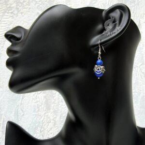 Kolczyki chainmaille ze stali chirurgicznej z lapis lazuli