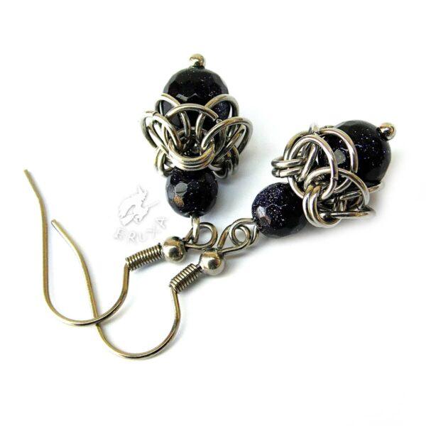 Kolczyki chainmaille ze stali chirurgicznej z kamieniem noc Kairu