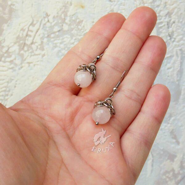 Kolczyki chainmaille ze stali chirurgicznej z różowym kwarcem