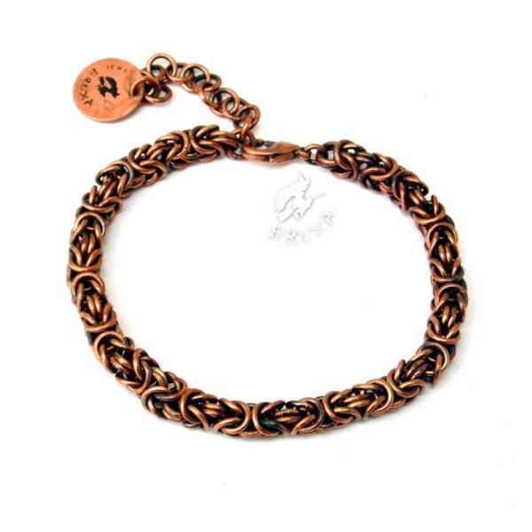 Miedziana bransoletka chainmaille wykonana splotem bizantyjskim